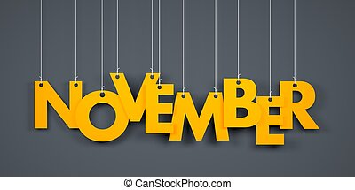November background - November - word hanging on the string