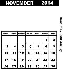 November calendar 2014 isolated