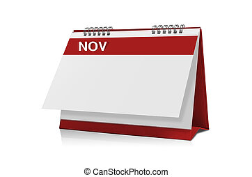 November calendar is empty Isolated on white background with...