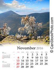 november., calendrier, 2016.