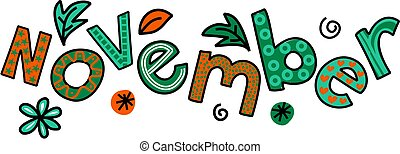 November Clip Art - Whimsical cartoon text doodle for the ...