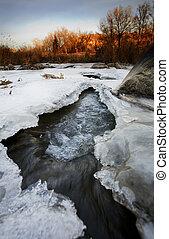 November Ice - A half frozen river in November. Shot in...