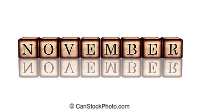 month november - text in 3d retro wooden cubes with letters and reflection, calendar concept element