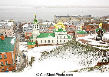 november, kilátás, budi keresztelő, templom, nizhny novgorod, oroszország