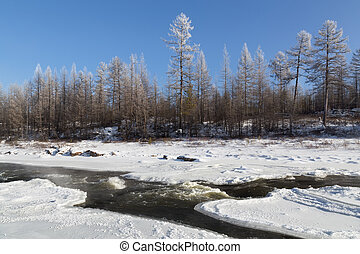 November landscape  in South Yakutia, Russia