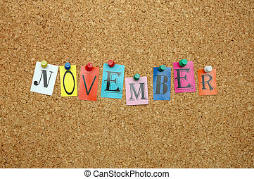 November, month pinned on noticeboard