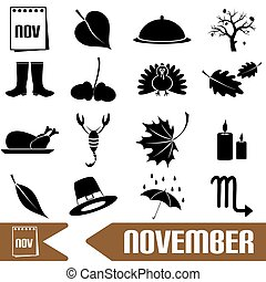 november month theme set of simple icons eps10