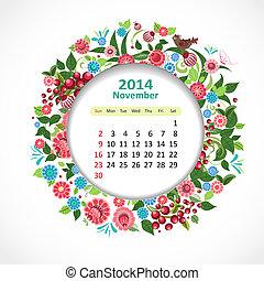 november, naptár, 2014