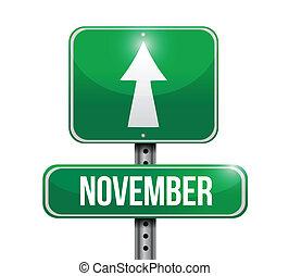 november, ontwerp, illustratie, meldingsbord