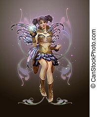 November Pixie - a graceful fairy with butterfly wings and a...