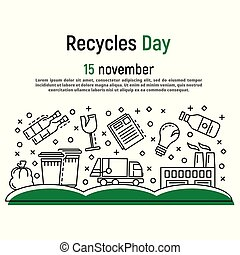 November recycles day concept background, outline style
