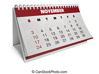 render of a 2013 calendar with real dates of november