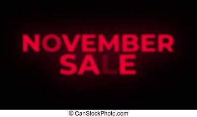 November Sale Text Flickering Display Promotional Loop. -...