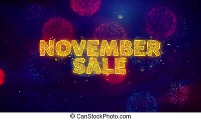 November Sale Text on Colorful Ftirework Explosion...