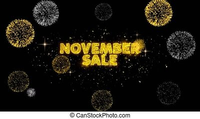 November Sale Text Reveal on Glitter Golden Particles...