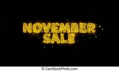 November Sale Text Sparks Particles on Black Background. -...