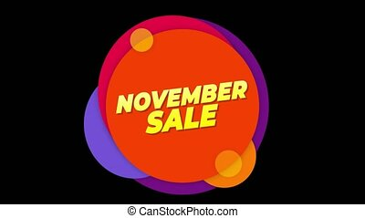 November Sale Text Sticker Colorful Sale Popup Animation. -...