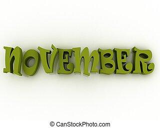 November sign with colour. 3d paper illustration.