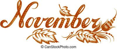 November, name of the month, hand drawn, illustration in Ukrainian folk style