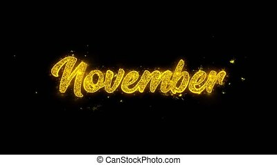 November Typography Written with Golden Particles Sparks...