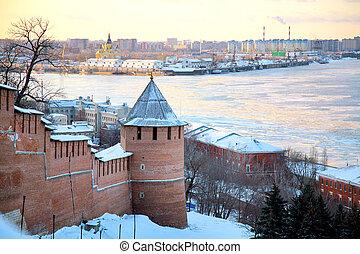 November view of Strelka from Nizhny Novgorod Kremlin Russia