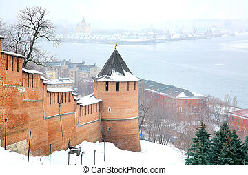 November view snow Nizhny Novgorod Kremlin Russia