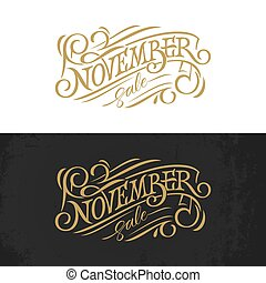 November vintage typography. Golden lettering on white and black background. Vector template for banner, greeting card, poster, print design. Banner in retro style.