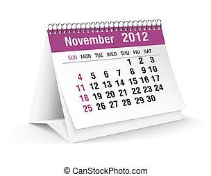 novembre, 2012, calendario, scrivania