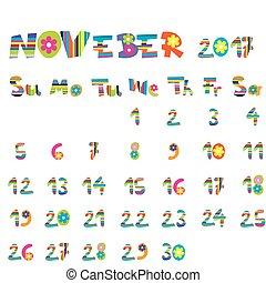novembre, 2017, calendrier
