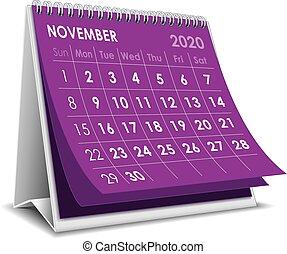 novembre, 2020, calendrier