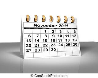 novembre, calendar., bureau, 2011.