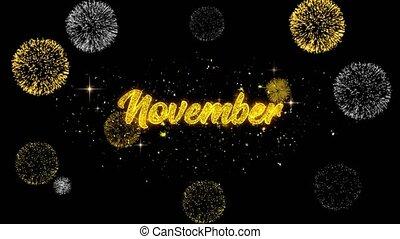 novembre, dorato, testo, lampeggiamento, particelle, con,...