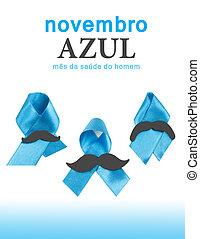 Novembro Azul is Blue November in Portuguese language. Men healthy month.