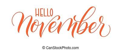 novembro, caligrafia, olá, escova