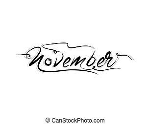 Novermber Lettering Text on white background in vector illustration