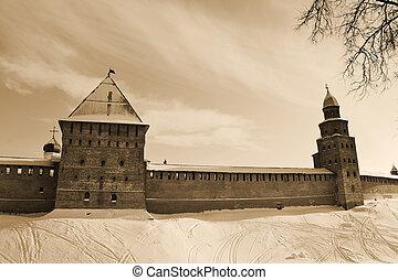 novgorod, citadel., sepia.
