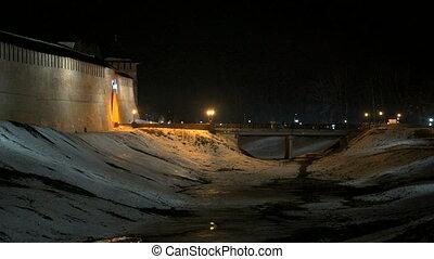 Novgorod Kremlin at night in winter, Russia