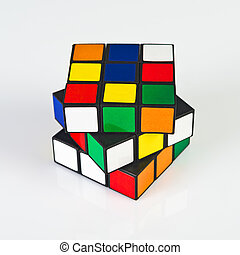 NOVI SAD, SERBIA - NOVEMBER 17, 2014: Rubik's Cube invented by a Hungarian architect Erno Rubik in 1974 is famous is 3 dimensional puzzle originally called Magic Cube.