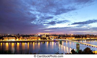 Novi Sad skyline - Novi Sad on Danube skyline in early...