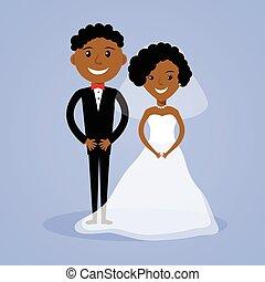 novia, afroamericano, novio, caricatura