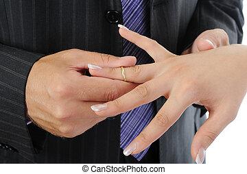 novia, anillo, novio, usa