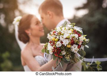 novia, boda, novio, pareja, juntos