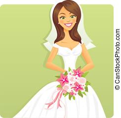 novia, con, flores