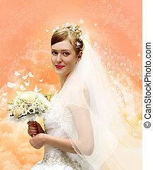 novia, con, ramo, collage