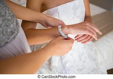 novia, dama de honor, midsection, prueba, espacio aliño