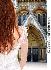novia, delante de, iglesia, esperar