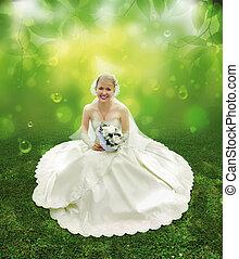 novia, en, hierba verde, collage