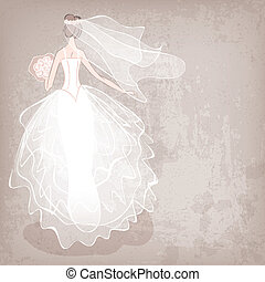 novia en vestido de novia, en, grungy, plano de fondo