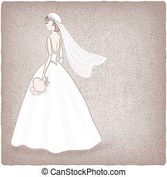 novia en vestido de novia, viejo, plano de fondo
