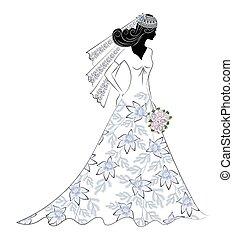 novia, flor, silueta